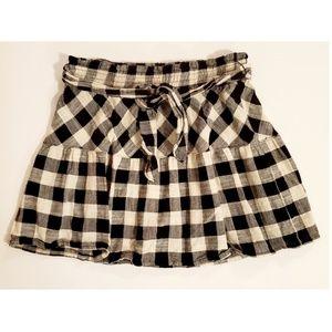 Joe B Gingham Plaid Belted Mini Skirt